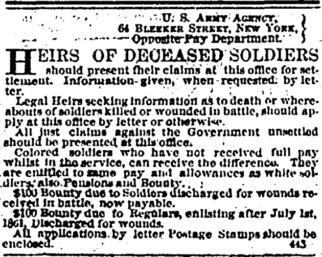 20 August 1864 Heirs of Deceased Soldiers