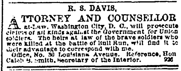 22 November 1862 Bull Run Attorney