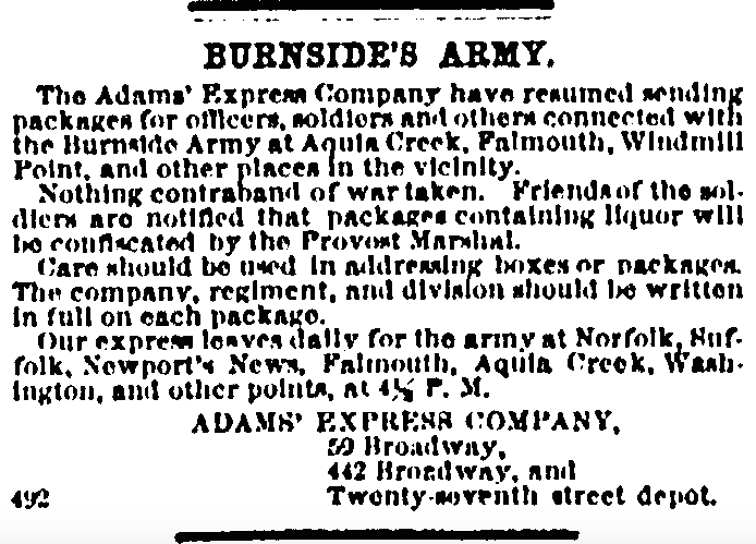 31 January 1863 Adams Express
