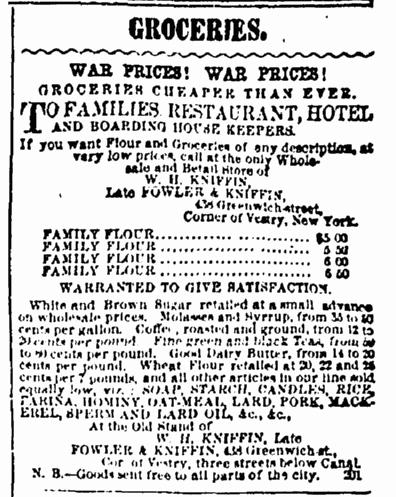 5 July 1862 War Groceries