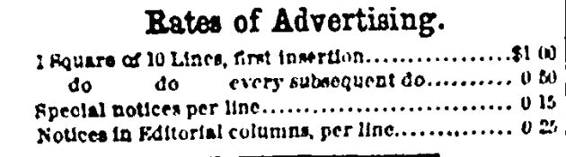8 March 1862 Rates of Advertisement
