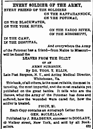 9 May 1863 Ad for Book with McLellan