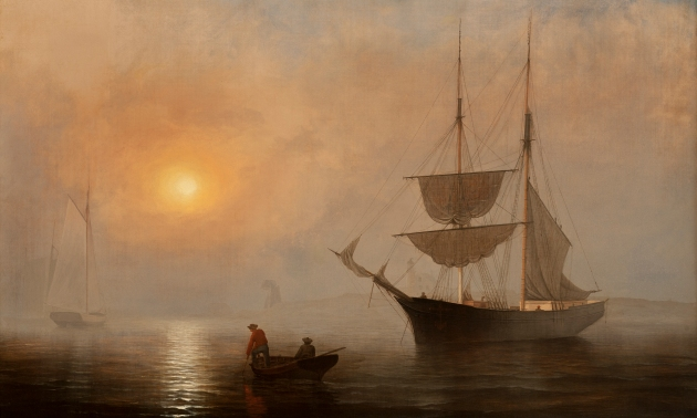 """""""Ships in Fog, Gloucester, Massachusetts"""". Painted by Fitz Henry Lane in 1860, the same year John began his fishing career in Gloucester. Currently part of the Princeton University Art Museum (Fitz Henry Lane)"""