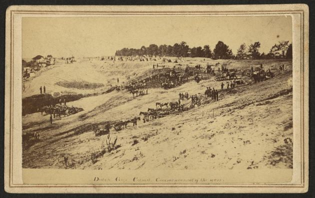 The commencement of the Dutch Gap Canal (Library of Congress)