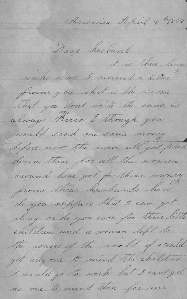 Letter written by Elizabeth to her husband from Ansonia in 1864 (NARA/Fold3)