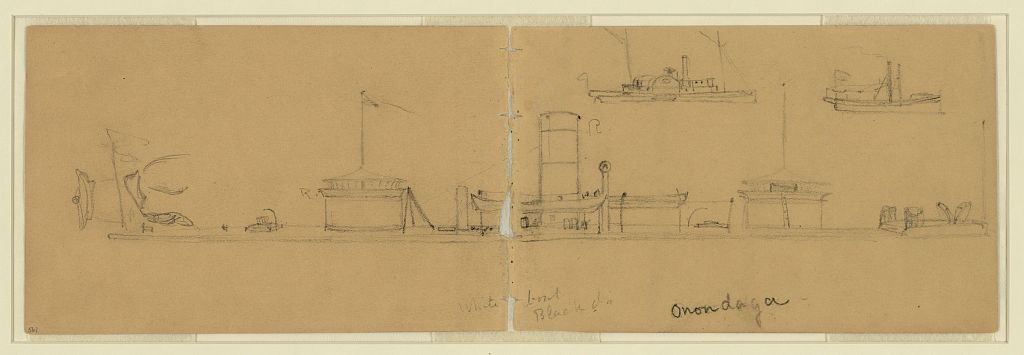 The USS Onondaga drawn by Alfred Waud (Library of Congress)