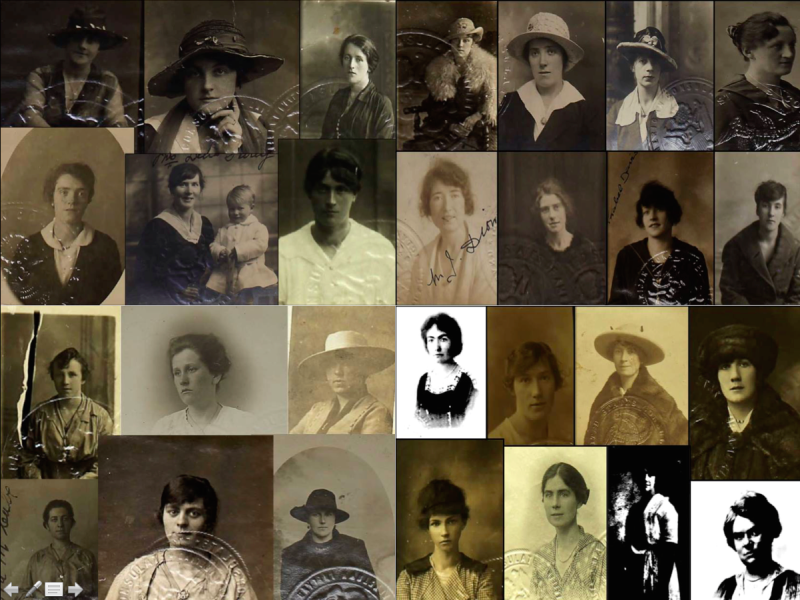 Some of the passport photos of Irish women who married U.S. servicemen during World War One (Damian Shiels/NARA)