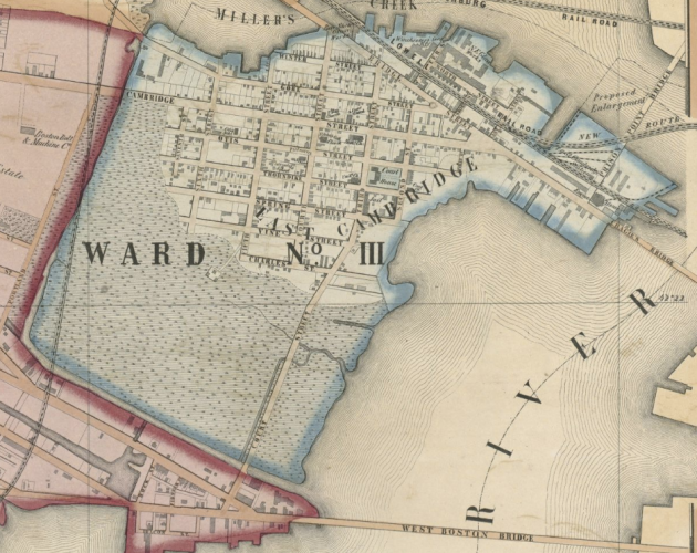 East Cambridge in 1854, when the Martins lived there (Boston Public Library)