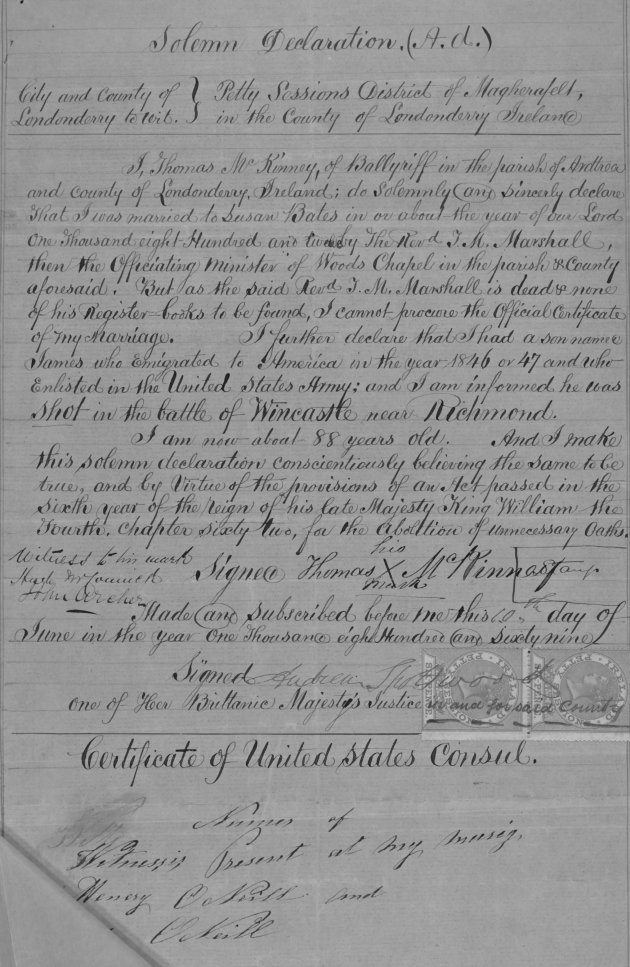 The statement of Thomas McKinney made in Londonderry (Fold3/NARA)