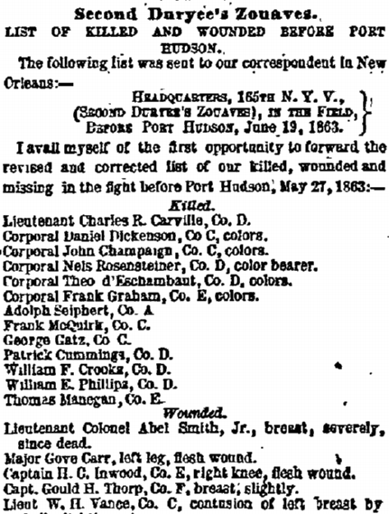Extract of the New York Herald casualty list for the 165th New York at Port Hudson, printed on 4th July 18363. Frank's name is listed among the dead (GenealogyBank)
