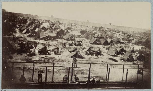 South view of the Stockade at Andersonville Prison, 17th August 1864 (Library of Congress)