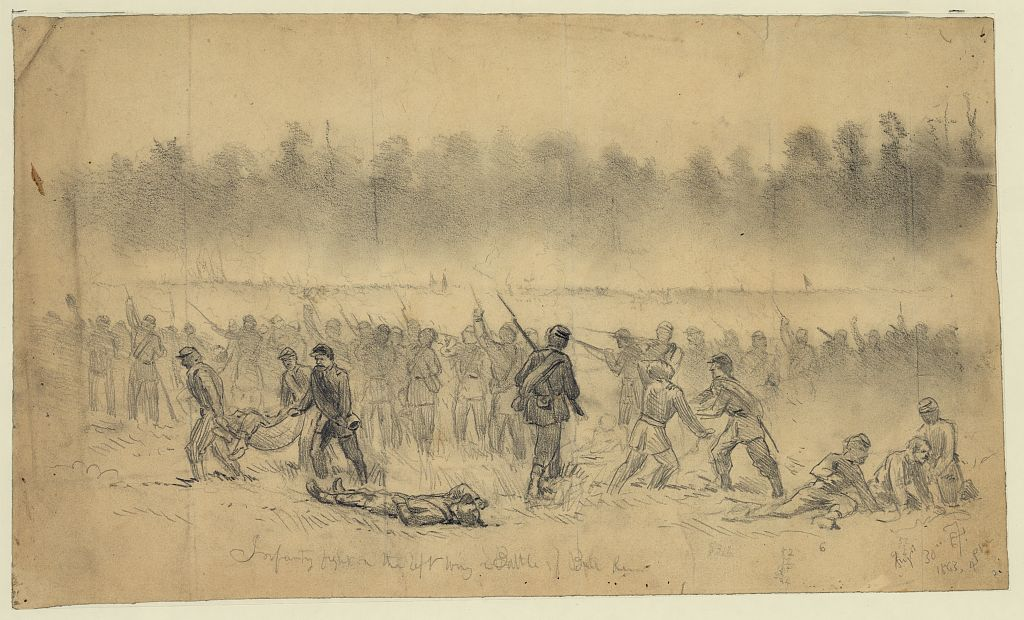 The fighting on Chinn Ridge at Second Bull Run as drawn by Edwin Forbes (Library of Congress)