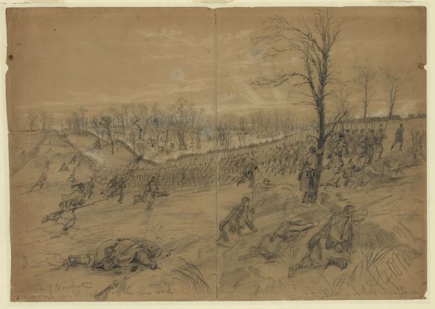 The First Battle of Winchester, where John was engaged (Library of Congress)