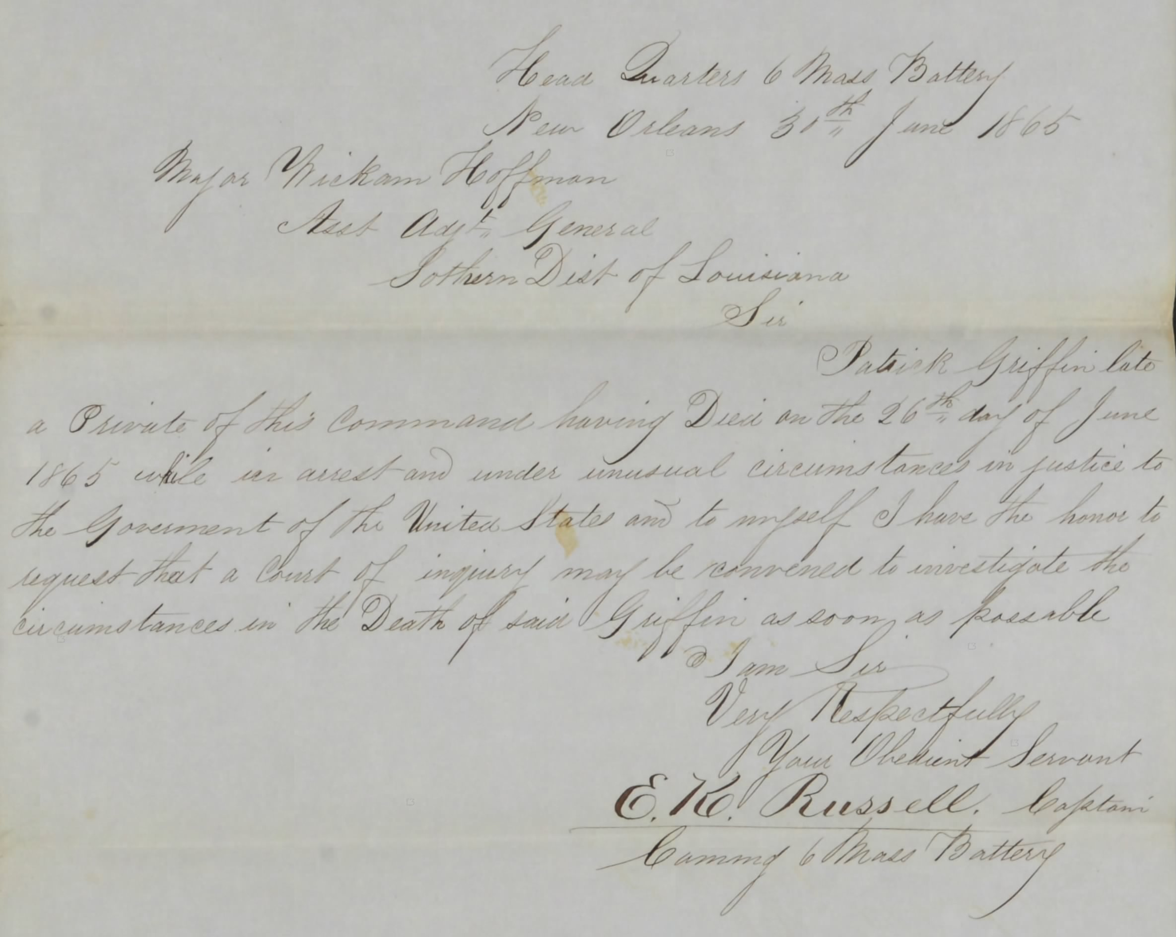 Written appeal of Patrick's Captain for an inquiry into Patrick's death (Fold3/NARA)