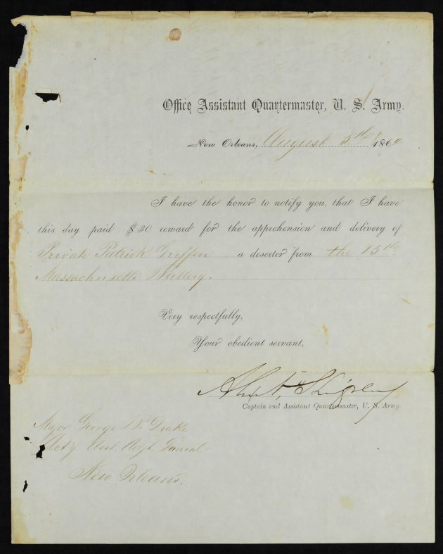Receipt for payment of award for the capture of Patrick Griffin in New Orleans (Fold3/NARA)