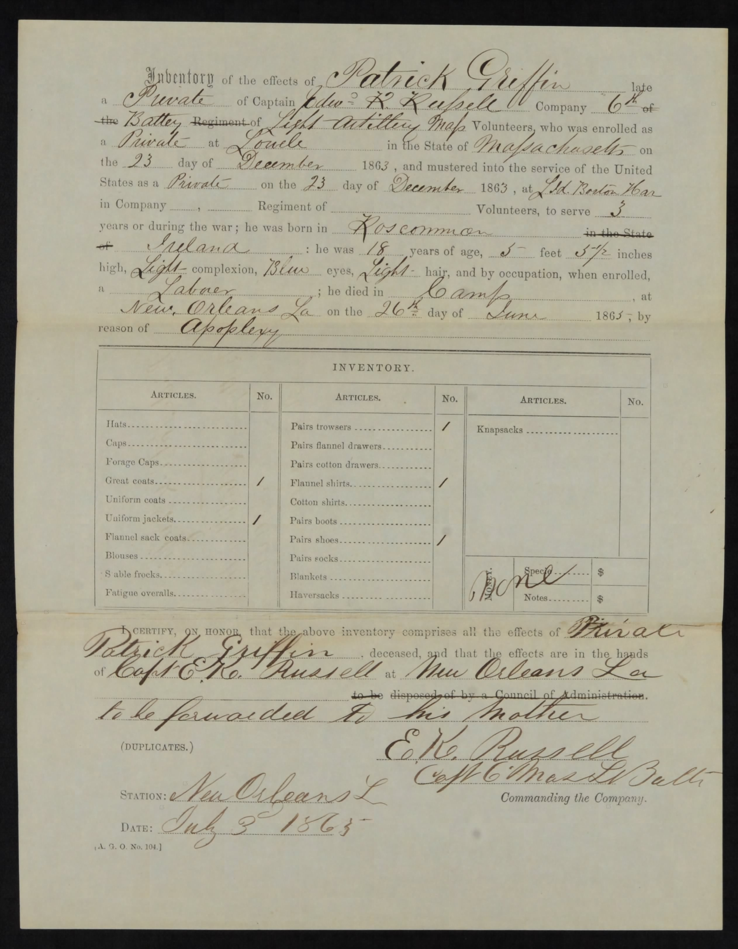 Patrick's Final Statement, which lists his possessions at the time of his death (Fold3/NARA)