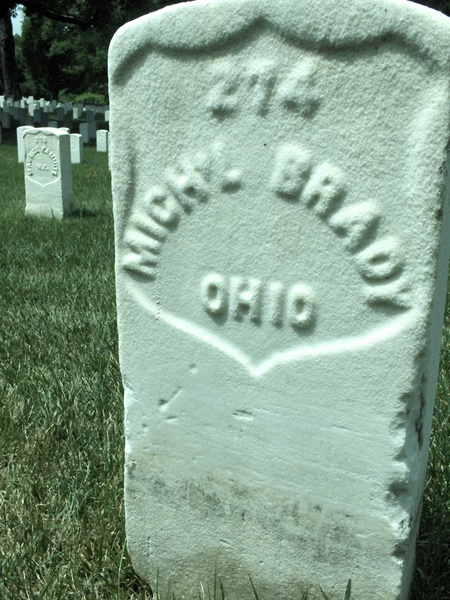 The grave of Michael Brady (Image by Stan Jett, Find A Grave)