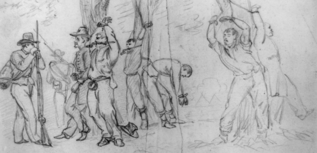 Punishment of Union soldiers, as depicted by Alfred Waud. In the case of Patrick Griffin, he was tied up by the thumbs, with his feet barely touching the ground, and gagged (Library of Congress)