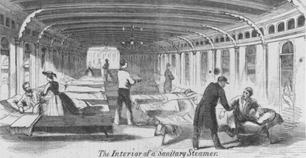 The interior of a sanitary steamer, similar to the 'City of Memphis' on which John Vaughan breathed his last (Naval History and Heritage Command)