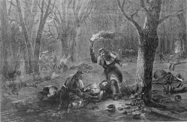 Seeking Union wounded on the field at Fort Donelson. John Vaughan was one of those who fell injured there. (Library of Congress)