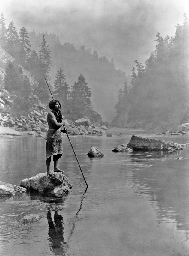 A Hupa Fisherman in California, photographed in the 20th century. The Hupa were one of the Californian tribes terribly impacted by the Gold Rush (Library of Congress)