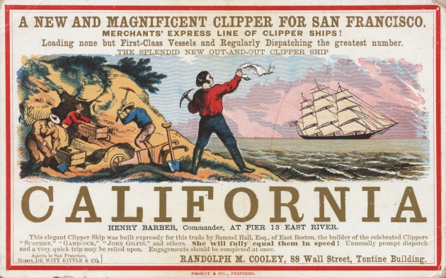 An 1850 advertisement for passage to California and the Gold Rush (Nesbitt & Co Printers)