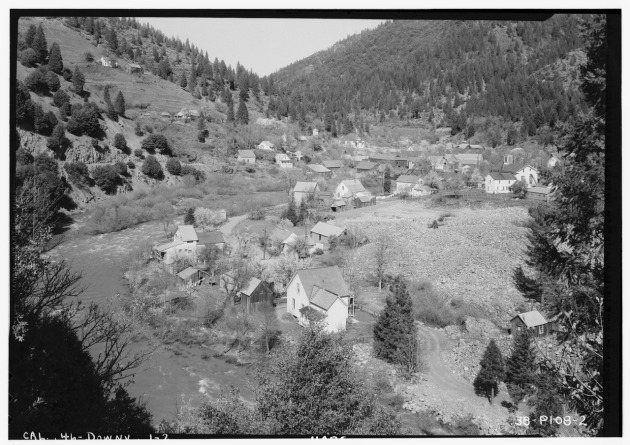The North Yuba River at Downieville, as it appeared in the 1930s (Historic American Building Surveys of California)