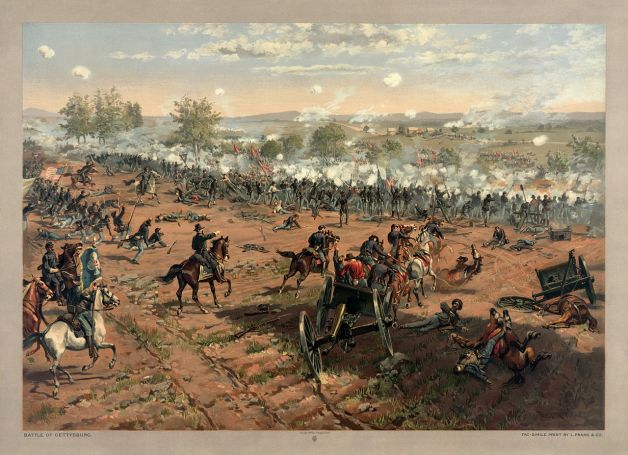 A depiction of Pickett's Charge at Gettysburg. Charly Gallagher was one of the men who repulsed it (Library of Congress)