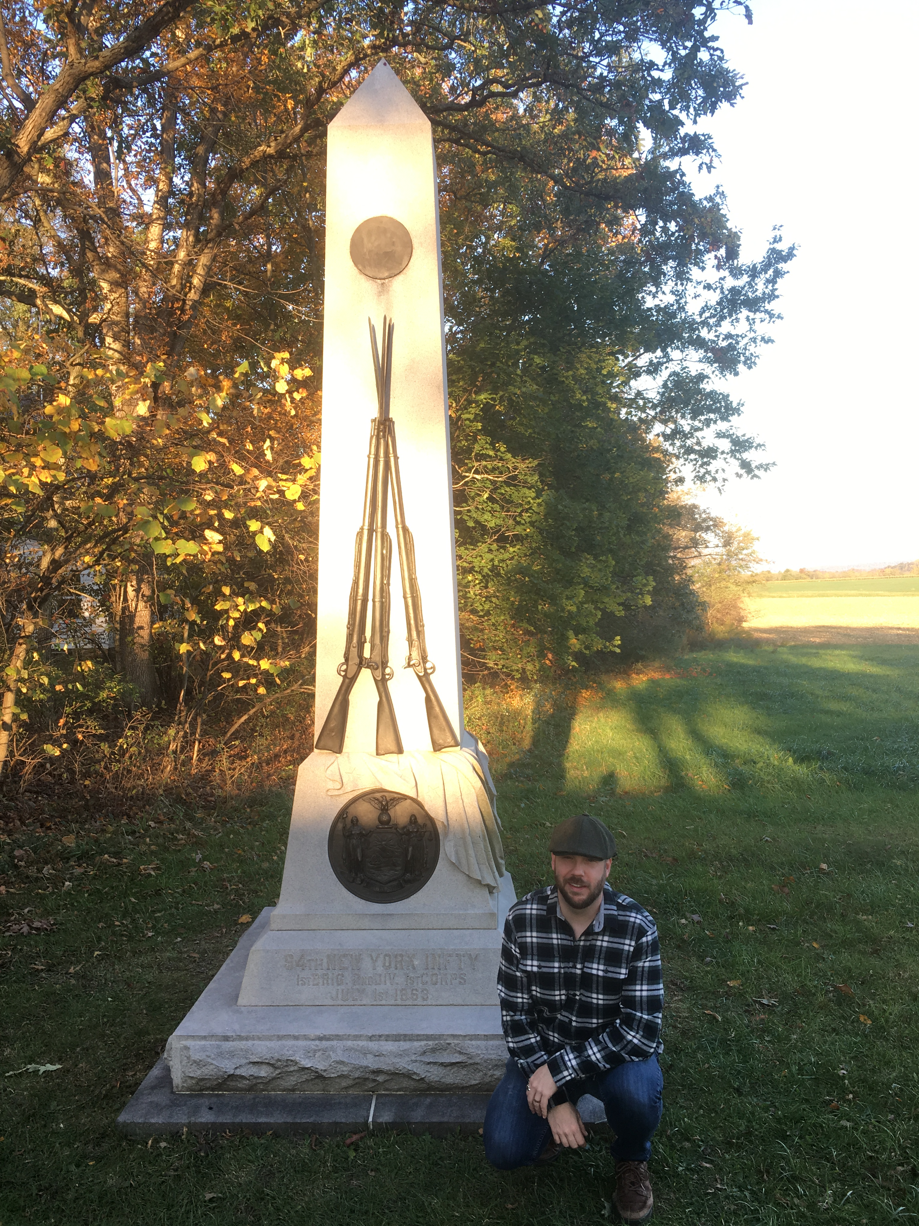 At the 94th New York Memorial, the first memorial I visited at Gettysburg (Damian Shiels)