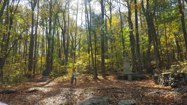The 9th Massachusetts Memorial at Big Round Top, with friend of the site Jackie Budell (Damian Shiels)