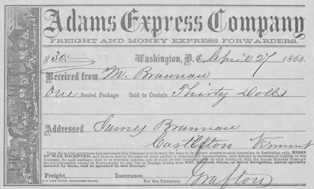 The Adams Express recipt from April 1863, the last remittance Michael Brennan sent to his mother prior to his death at Gettysburg (NARA/Fold3)