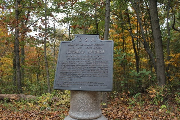 The marker to Archer's Confederate Brigade in the Herbst Woods at Gettysburg (Damian Shiels)