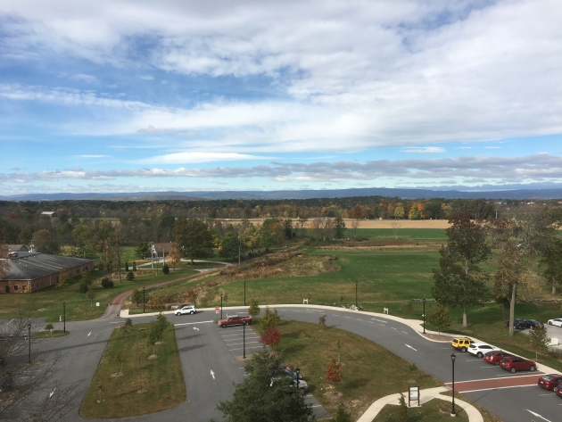Looking west from the cupola of the Lutheran Seminary towards Herbst Woods, the ground on which the Second Wisconsin fought on Gettysburg's first day (Damian Shiels)