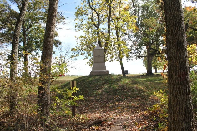 The monument marking the deathspot of Major-General John Reynolds, Commander of the First Corps at Gettysburg. He fell at the edge of Herbst Woods, as the Second Wisconsin and others plunged towards the Confederates (Damian Shiels)