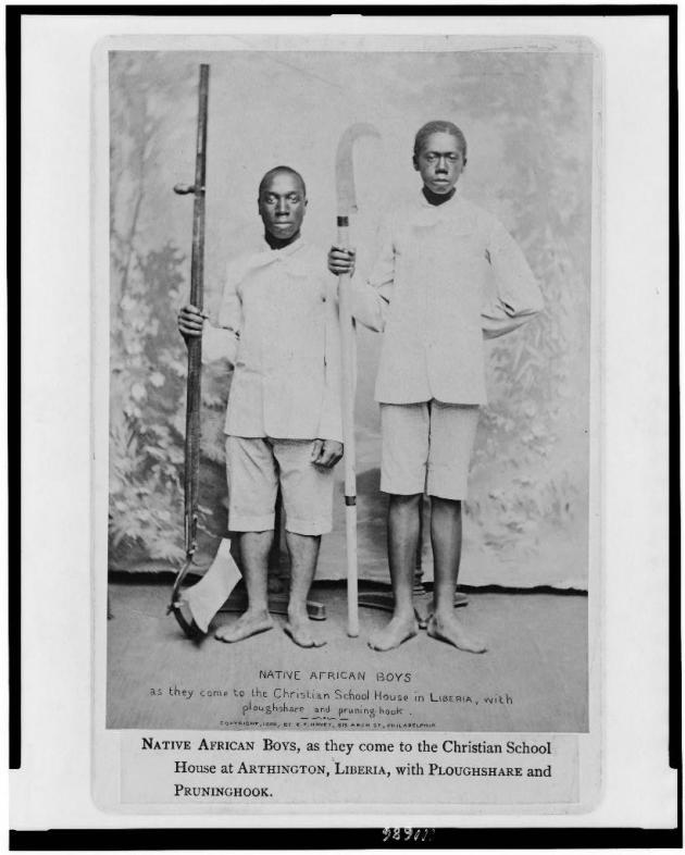 Native African boys who were being educated in the Christian School in Arthington, Liberia (Library of Congress)