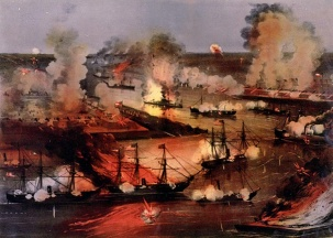 The Battle of Forts Jackson & St. Philip, which James Power fought in (US Naval Historical Center)