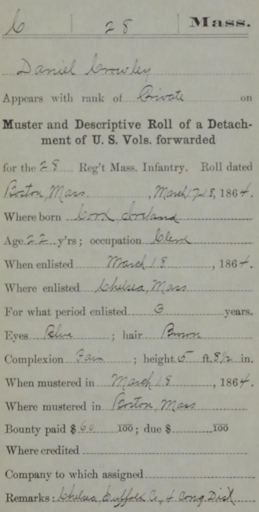 Details of Daniel Crowley's enlistment (NARA/Fold3)