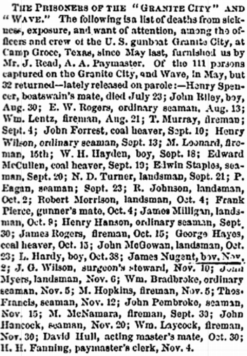 The members of the USS Granite City who died in captivity in Texas as reported in January 1865. James's name is among them