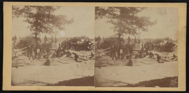 USCT troops on the line at Petersburg (Library of Congress)