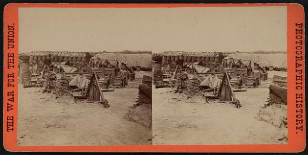 Soldiers quarters at Petersburg (Library of Congress)