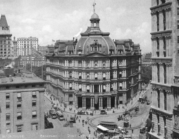 The City Hall Post Office, where the Special Examiner interviewed Eliza Desmond and her witnesses (New York Times via Wikipedia)