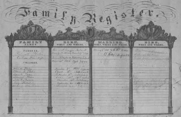 The Phelan Family Register (NARA/Fold3)