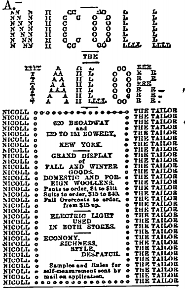 Advertisement for Nicoll the Tailor, New York Irish American Weekly, 1880 (New York Irish American Weekly)