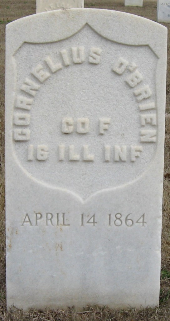 The grave of Cornelius O'Brien in Chattanooga National Cemetery (LuvFlowers via FindAGrave)