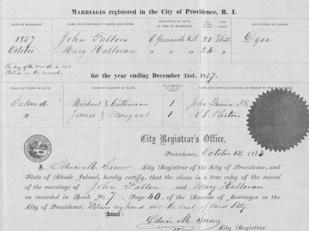 Marriage Certificate of John Fallon and Mary Halloran (NARA/Fold3)