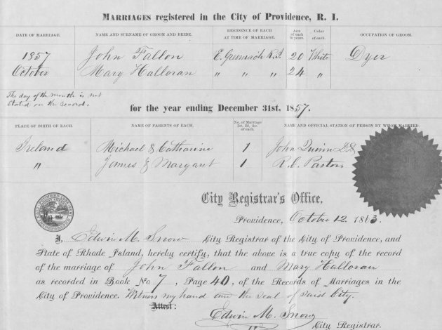 Marriage Certificate of John Fallon and Mary Halloran (NARA/Fold3)