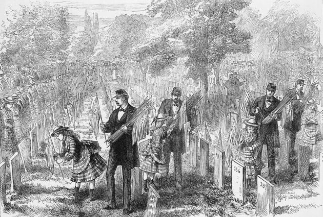 Orphans decorate the graves of their fathers, 1873 (Library of Congress)