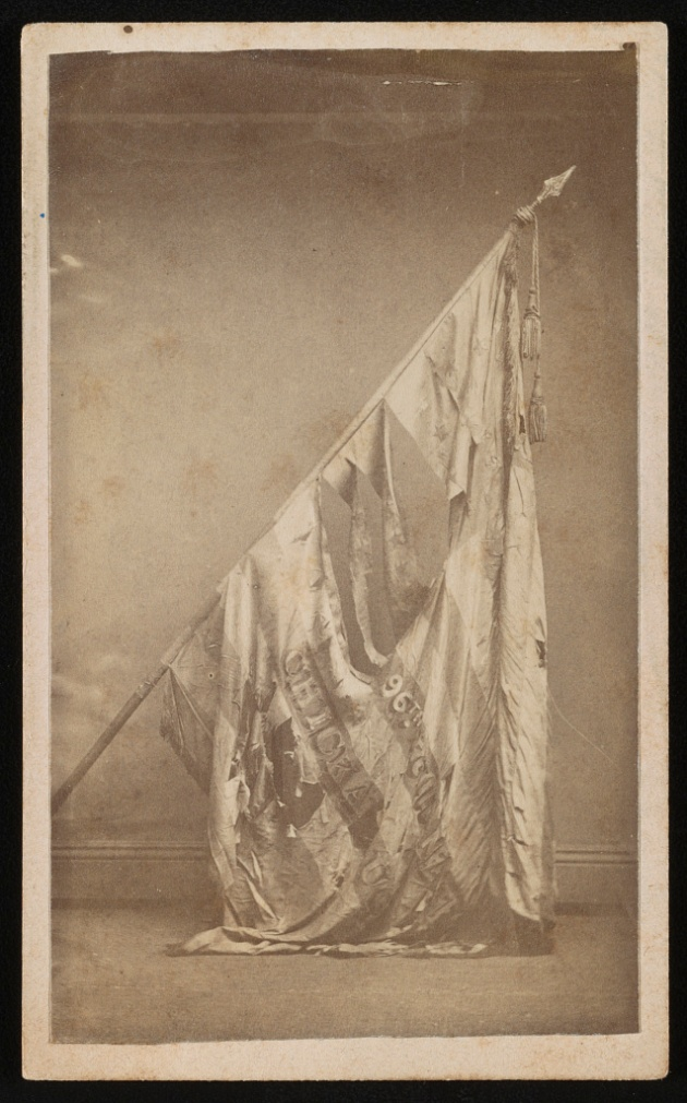 The battle-torn National Color of the 96th Illinois Infantry (Library of Congress)