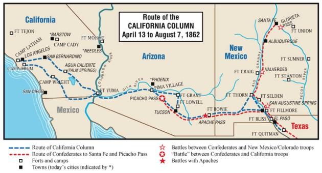 """Route of the """"California Column"""" in which Thomas Martin participated (Starwars1977 via Wikipedia)"""