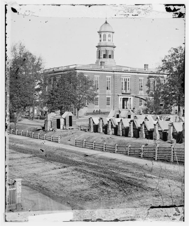 Camp of the 2nd Massachusetts Infantry at the City Hall in Atlanta, Georgia. Thomas was likely one of those encamped here (Library of Congress)